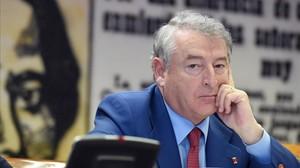 El presidente de RTVE, José Antonio Sánchez, durante su comparecencia en el Senado.