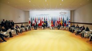 Vista general delretirode los dirigentes del G20 para hablar sobre lucha contra el terrorismo.