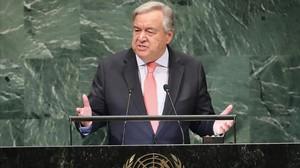 Antonio Guterres, secretario general de la ONU, se dirige a la Asamblea General, el 25 de septiembre del 2018.