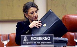La ministra de Trabajo, Yolanda Díaz, durante su comparecencia en la comisión de Trabajo del Congreso.