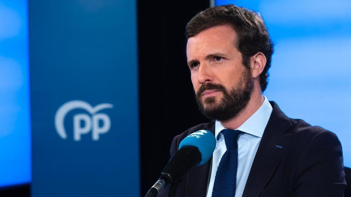 Pablo Casado, en la sede del Partido Popular.