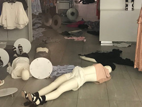 Vandalised H&M store is seen in Sandton
