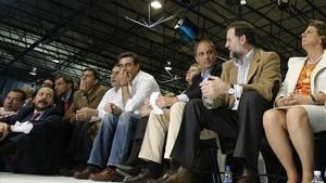 El Bigotes, Costa, Camps y Rajoy en un acto del PP