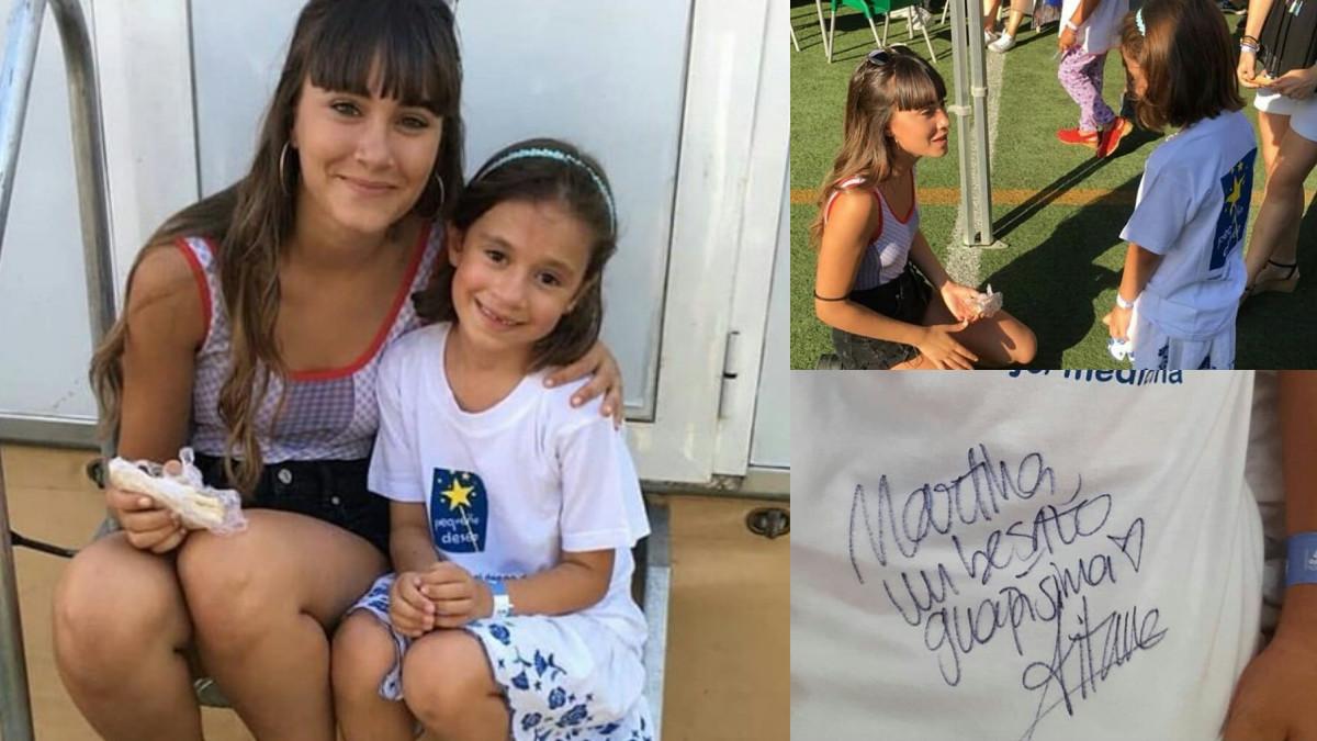 Aitana junto a la pequeña Martina.