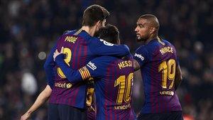 El festejo del gol de Messi ante el Valladolid.