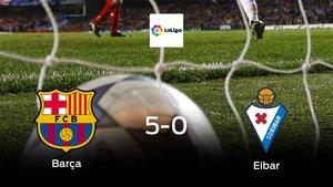 El Barcelonasuma tres puntos tras golear al Eibar en casa (5-0)