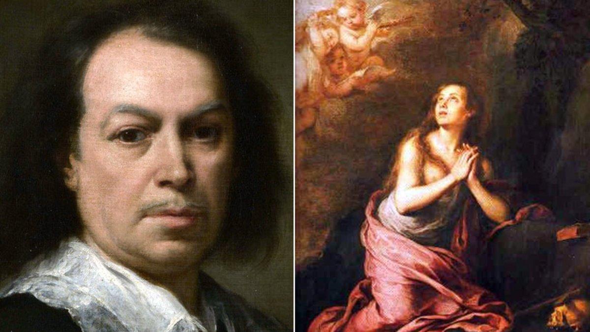 Bartolomé Esteban Murillo, junto a una de sus Magdalenas penitentes.
