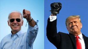 Jor Biden y Donald Trump en dos mítines de sus respectivas campañas.