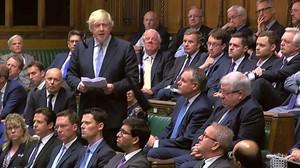Boris Johnson durante su declaración en la Cámara de los Comunes.