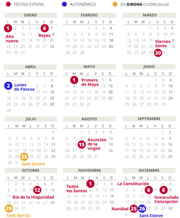 Calendario laboral de Girona del 2018.