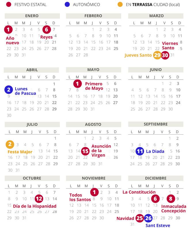 Calendario laboral de Terrassa del 2018.