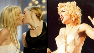 A la izquierda, Madonna besa a Britney Spears en la gala de los premios MTV del 2003. Al lado, durante elBlond ambition tour de 1990.