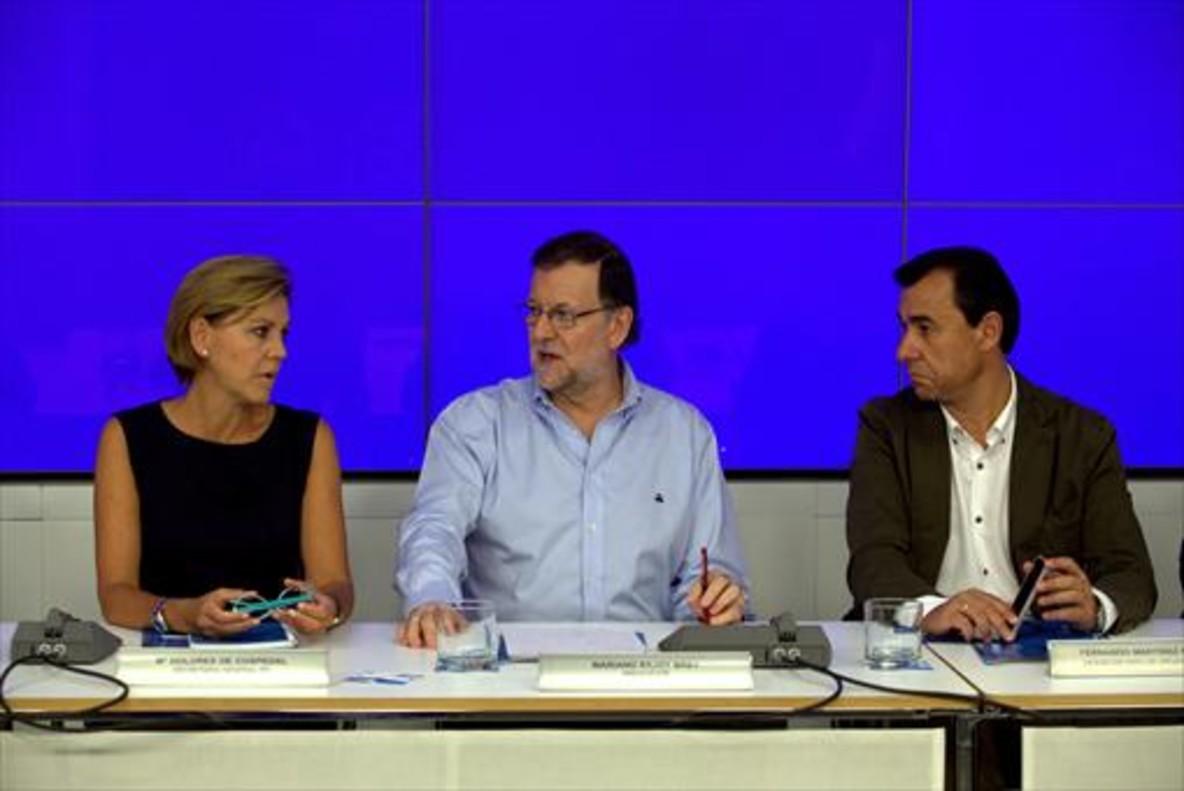 Cospedal, Rajoy y Martínez-Maillo, en el comité ejecutivo nacional del PP.