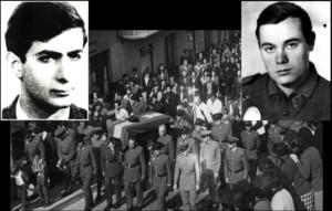 El etarra Javier Etxebarrieta (izquierda) mató al guardia civil José Antonio Pardines (derecha) el 7 de junio de 1968. Se cumplen ahora 50 años. En el centro, un momento del entierro de la víctima, en Malpica (A Coruña) tres días después del asesinato.