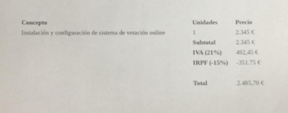 Factura a Podemos por la instalación del sistema de votación online.