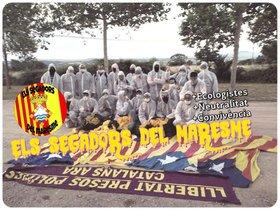 Foto del facebook de Segadors del Maresme exhibiendo la pancarta.