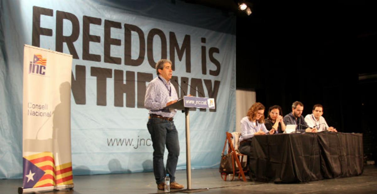 Francesc Homs, durante el consejo nacional de la JNC, en Llagostera.