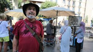 Galo Ariel Vega, este lunes en la Rambla de Barcelona.