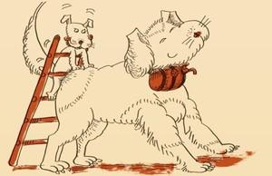 Ilustración del Abcdari per adults de Pilarin Bayés y Òscar Dalmau.