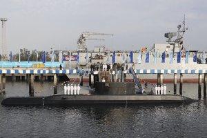 El presidente de Irán,Hassan Rouhani,presentó su nuevo submarino.AP