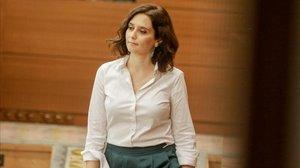 La presidenta de la Comunidad de Madrid,Isabel Díaz Ayuso, el pasado 14 de agosto, segundo día del pleno de investidura.