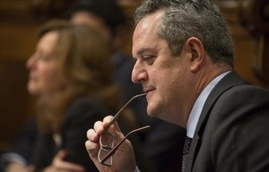 Joaquim Forn, durante un pleno en el Ayuntamiento de Barcelona.