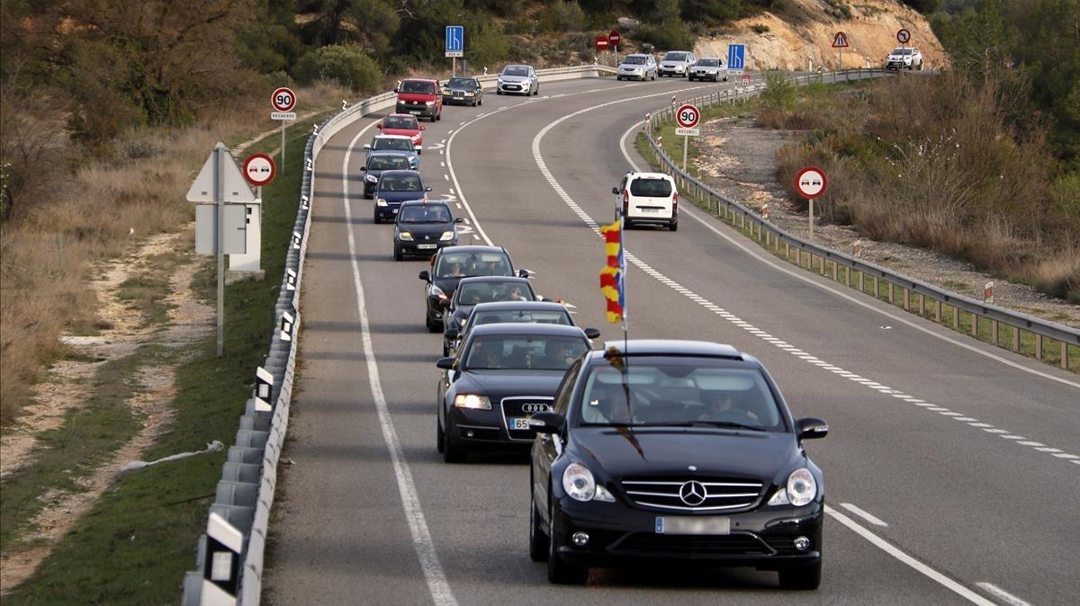 Marcha lenta en la N-240 entre les Borges y Montblanc.