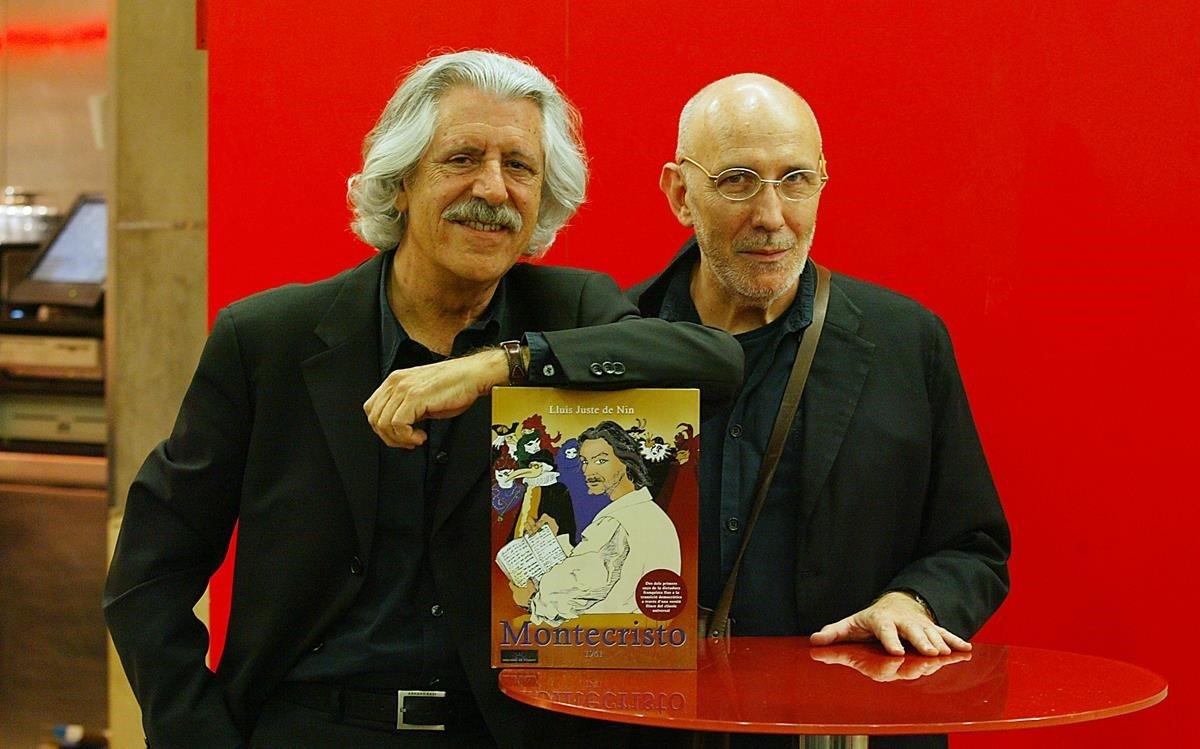 Juste de Nin, con Antonio Miró, en la presentación de su libro ilustrado 'Montecristo 1941', en el 2007.