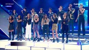 Los concursantes de 'OT 2018' interpretando 'Viva la vida' en la gala 3.