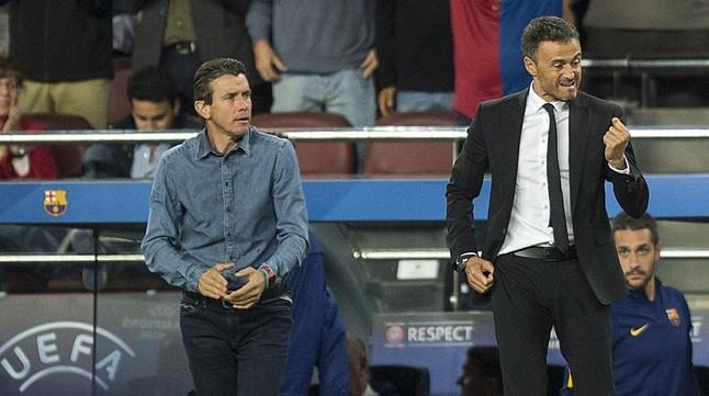 Luis Enrique y Unzué, en el partido ante el Bayer Leverkusen.