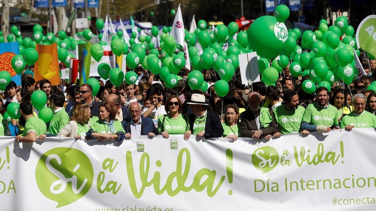 Manifestación contra el aborto en Madrid.