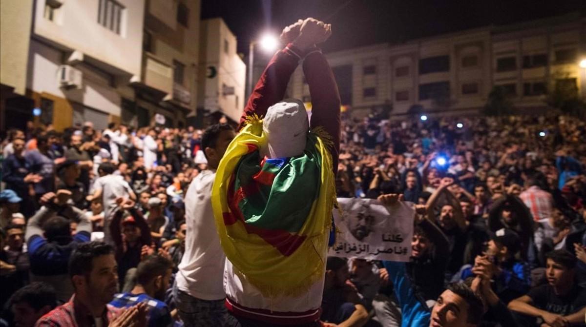 Manifestación de protesta en Alhucemas, el 29 de mayo.