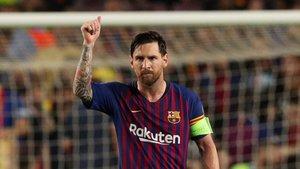 Messi, en un partido de Champions.