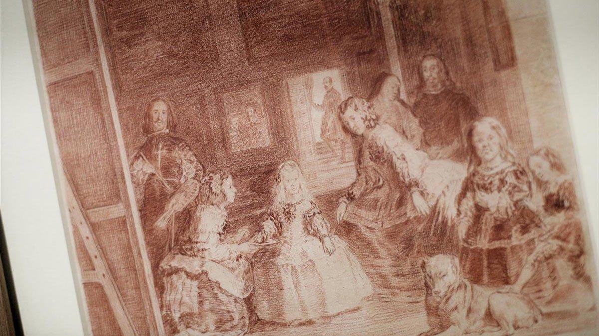Pintura de las Meninas de Velázquez en la exposición 'Dibujos de Goya. Solo la voluntad me sobra' del Museo del Prado.
