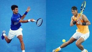 Djokovic y Nadal durante el Abierto de Australia.