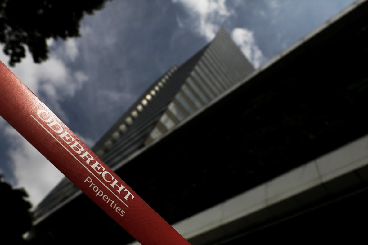 The corporate logo of the Odebrecht SA construction conglomerate is pictured at its headquarters REUTERS Nacho Doce File photo
