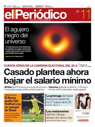 La portada de EL PERIÓDICO del 11 de abril del 2019