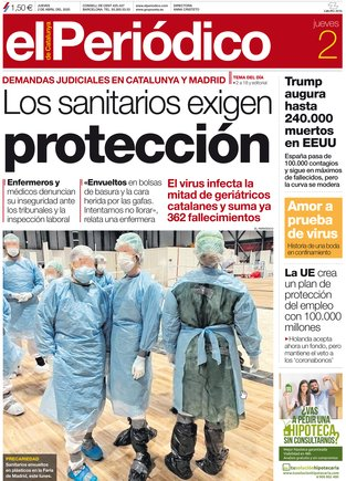 La portada de EL PERIÓDICO del 2 de abril del 2020