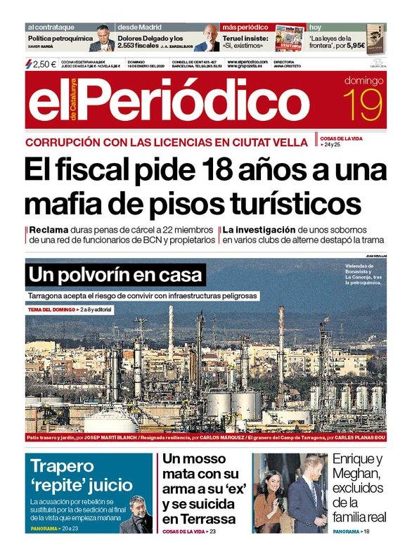 Portada de EL PERIÓDICO del 19 de enero del 2020.