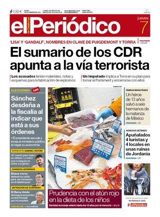 Prensa de hoy: Las portadas de los periódicos del jueves 7 de noviembre del 2019