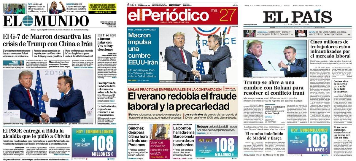 Prensa de hoy: Las portadas de los periódicos del martes 27 de agosto del 2019