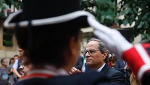 El president Quim Torra, en el Fossar de les Moreres, en Barcelona