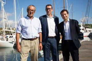 26/09/2019 El el presidente del Salón Naútico, Luis Conde; el director, Jordi Freixas y el secretario general de ANEN, Carlos Sanlorenzo en la presentación del Salón Naútico en Port Vell, en Barcelona, a 26 de septiembre de 2019.