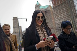 NEW YORK NY - JANUARY 23 Emma Coronel Aispuro the wife of Joaquin El Chapo Guzman arrives at the U S District Court for the Eastern District of New York January 23 2019 in New York City El Chapo is accused of trafficking over 440 000 pounds of cocaine in addition to other drugs and exerting power through murders and kidnappings as he led the Sinaloa Cartel Prosecutors say they expect to rest their case soon in the trial that began in November Drew Angerer Getty Images AFP FOR NEWSPAPERS INTERNET TELCOS TELEVISION USE ONLY
