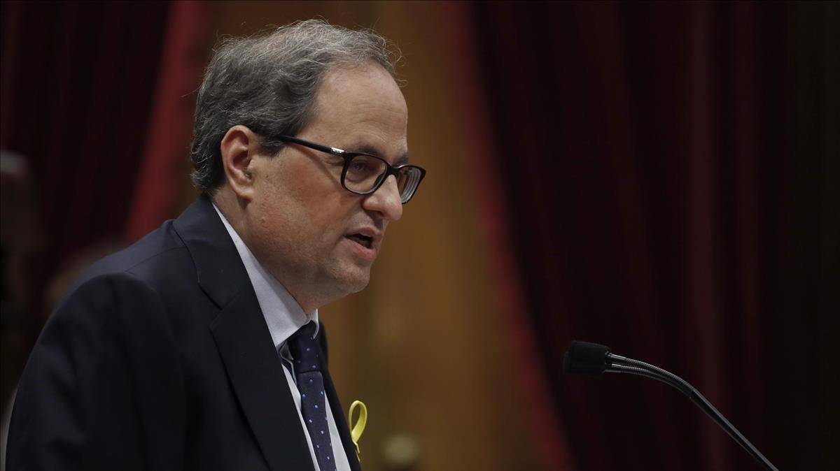 Quim Torra, durante el debate de investidura en el Parlament