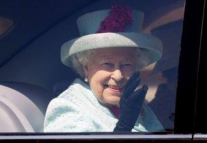 La reina Isabel, a su llegado al castillo de Windsor, para la Pascua del 2019.