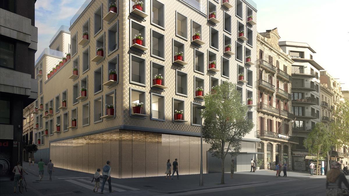 Boceto de la fachada del nuevo edificio que se alzará en Còrsega, 331.