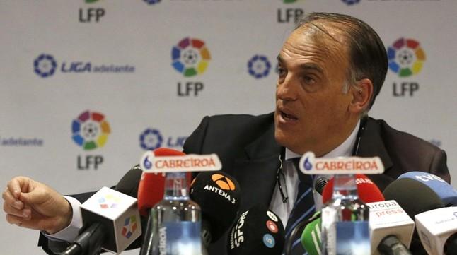 Javier Tebas en la sede de la LFP en Madrid.