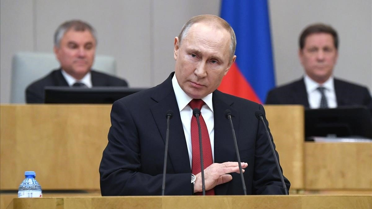 El presidente de Rusia,Vladimir Putin, durante una sesión plenaria dela Duma, el Parlamento ruso.