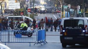 Macro Seguridad extra en la cabalgata de Reyes en Madrid en 2017.